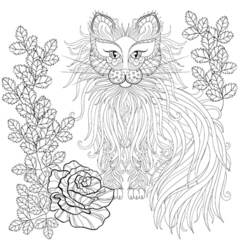 Fluffy cat in roses zentangle style freehand vector