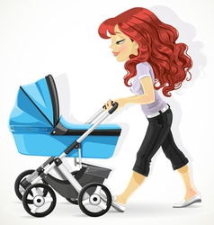 Cute mother with a blue pram on walk isolated on w vector