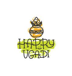 Happy ugadi the hindu new year print for holiday vector