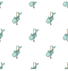 Fish on the spear icon in cartoon style isolated vector