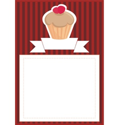 Dark card or invitation with sweet cupcake vector image