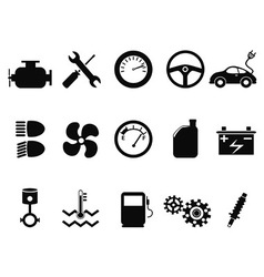car engine icons set vector image