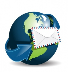 globe and envelope vector image