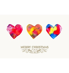 Merry Christmas love watercolor vintage card vector image