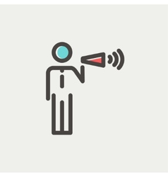 Man with megaphone thin line icon vector