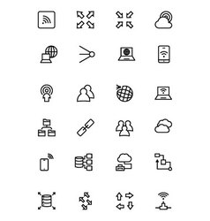 Network and sharing outline icons 4 vector