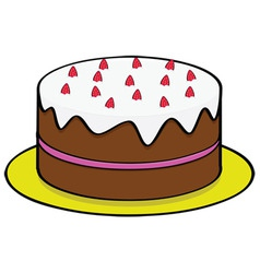 Strawberry chocolate cake vector