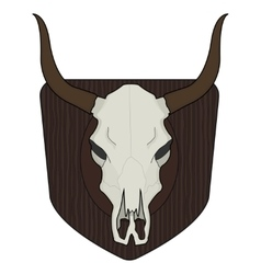 Wild west cow skull on wood shield vector