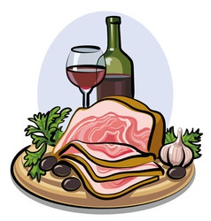 Fresh bacon and red wine vector