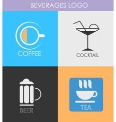Alcoholic beverage icons patterns logo vector
