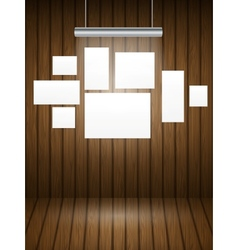Wooden planks interior with light vector