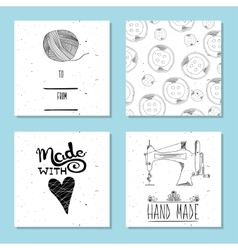 Printable cute cards for sites in the retro style vector