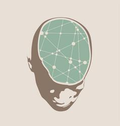 A human head with brain vector