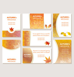 a set of autumn message cards vector image vector image