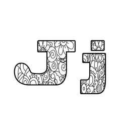 Anti coloring book alphabet the letter j vector