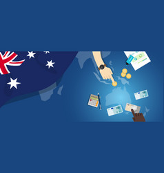 Australia economy fiscal money trade concept vector