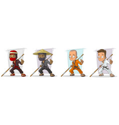 Cartoon karate boy and ninja character set vector