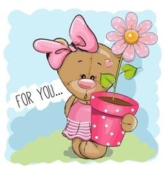 Cartoon teddy bear girl vector