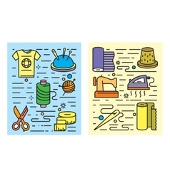 color flat sewing and needlework vector image