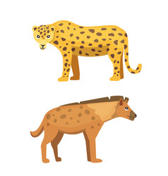 Cute jaguar and hyena stands vector