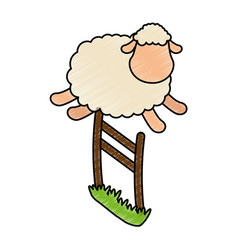 Cute sheep jumping the fence vector