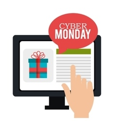 Cyber monday hand touch screen shop vector