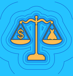 Dress and dollar symbol on scales sand vector