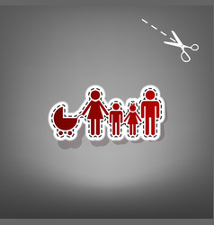 Family sign red icon with vector