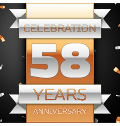 Fifty eight years anniversary celebration golden vector