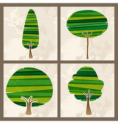 Green tree set vector image vector image