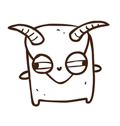 Hand drawn monster with horns vector