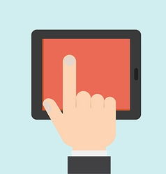 Hand Touching a Tablet vector image