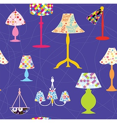 Lamps and lights seamless pattern vector image