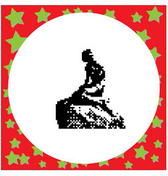 Little mermaid statue in copenhagen denmark black vector