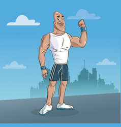 Man sport fitness urban background vector