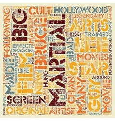 Martial arts cult stars text background wordcloud vector
