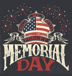 memorial day vintage greeting card vector image
