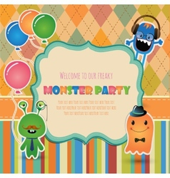 Monster party invitation card design vector