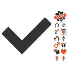 ok icon with valentine bonus vector image vector image