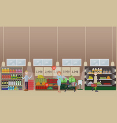 People making purchases flat vector