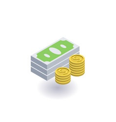 pile of cash money and coins icon symbol vector image vector image