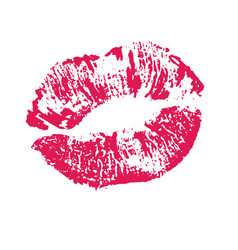 print of pink lips on a white vector image