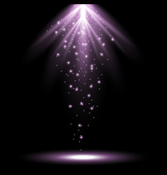 Rays of light from above purple color vector