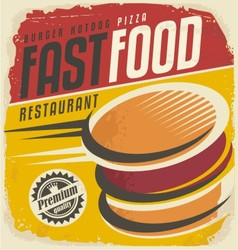 Retro fast food poster design vector image