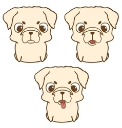 Set of pug puppies hand drawn vector