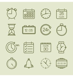simple time and calendar icons vector image vector image