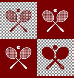 Two tennis racket with ball sign bordo vector