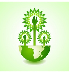Unity victory and helping hand make tree on earth vector image vector image
