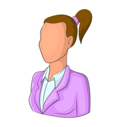 Woman with ponytail avatar icon cartoon style vector