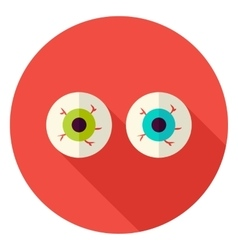 Spooky eyeballs circle icon vector